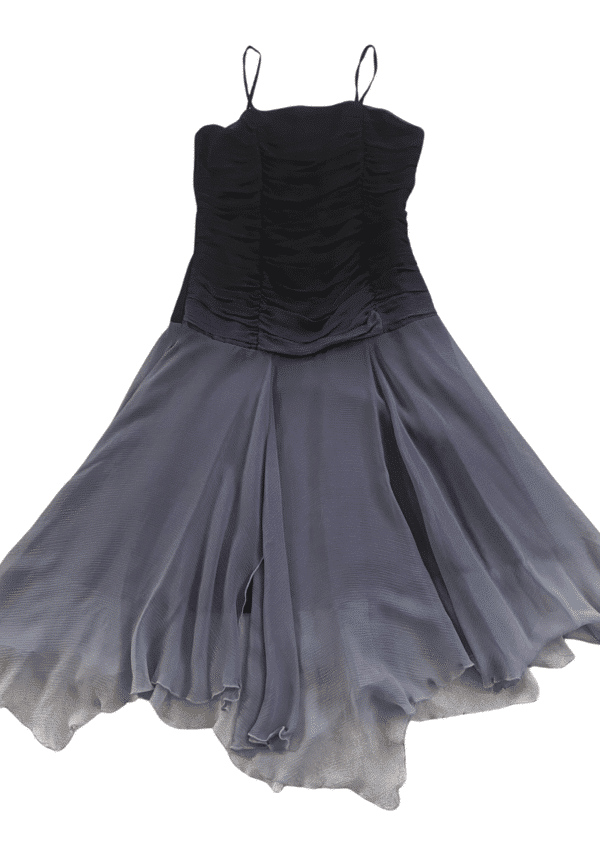 Stunning grey and black MW party dress on a white background from Silhouette London, a tween fashion boutique in Greater London