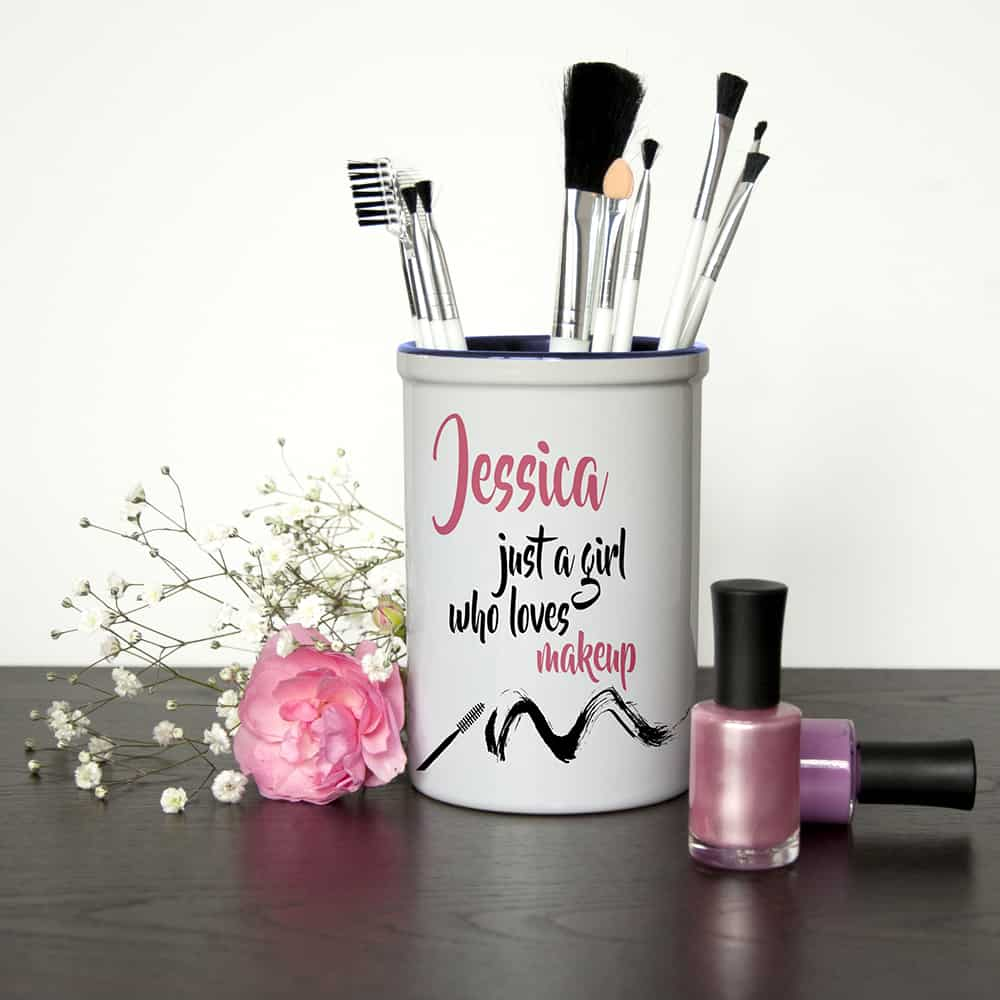 just a girl who loves makeup personalised brush holder per2321
