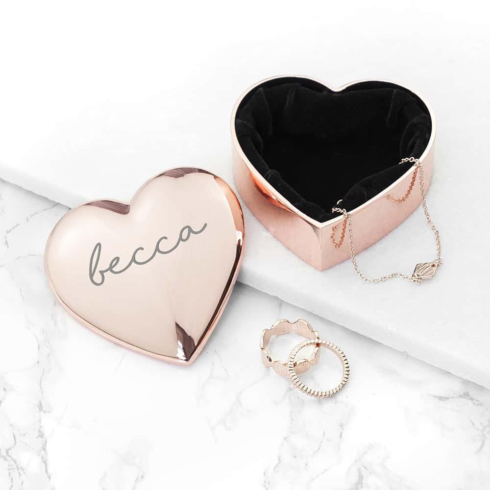 personalised heart trinket box per3723 ros