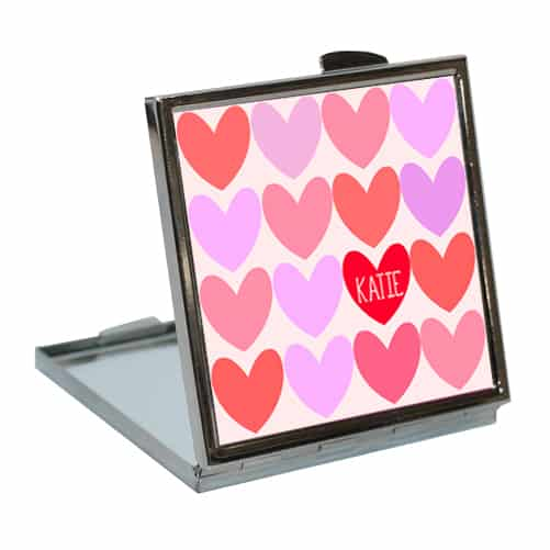 personalised love hearts compact mirror per142 ros
