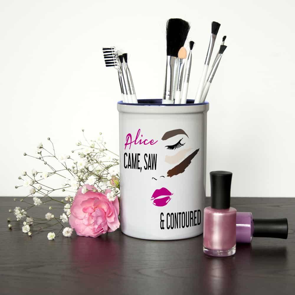 she came she saw she contoured personalised make up brush holder per2346