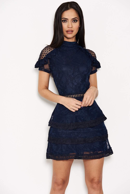 Navy High Neck Lace Layer Frill Mini Dress 1