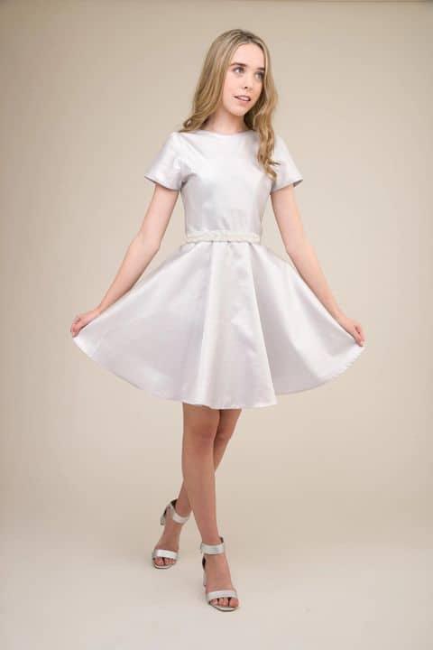 Un Deux Trois Matt Silver Short Sleeve Dress