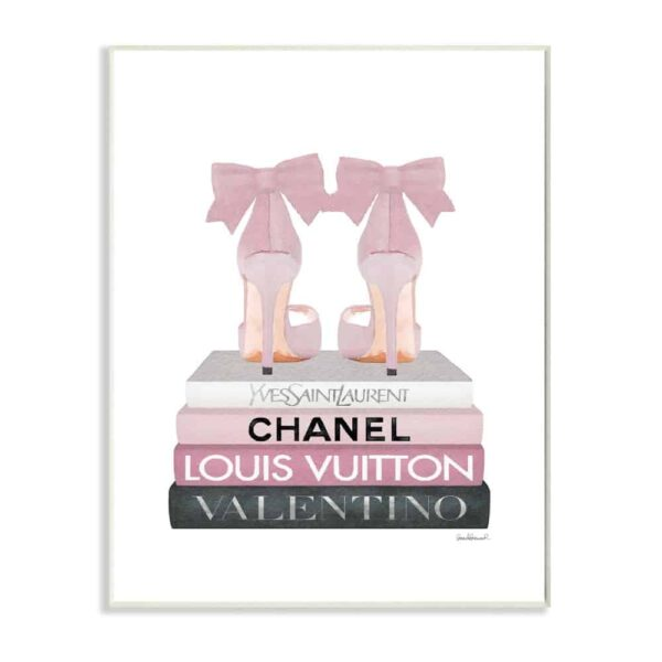 Pink Bow Heels on Book Pile