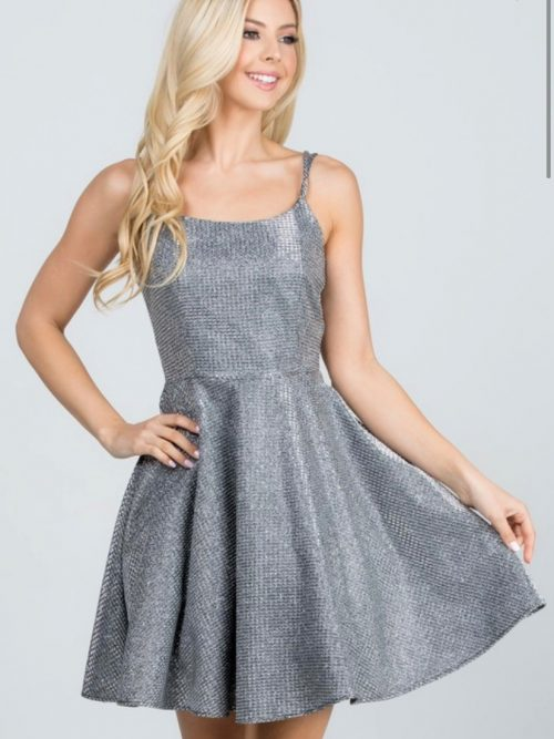 Shimmer Waffle Dress Dark Silver Front 2