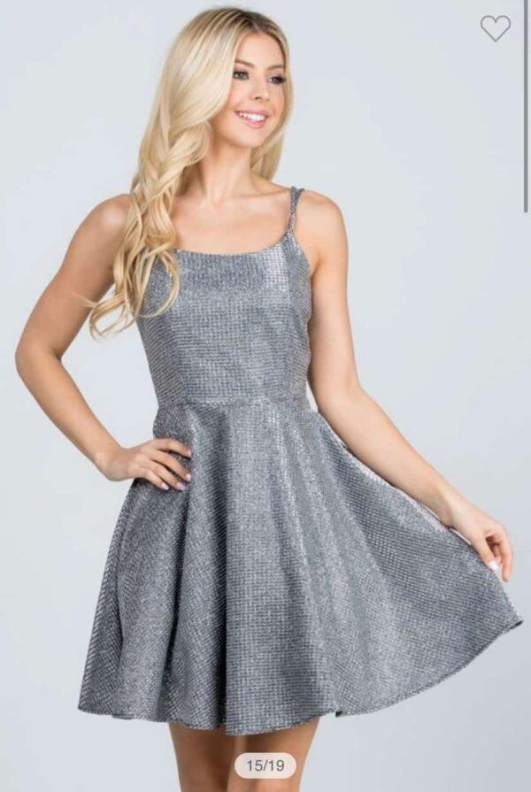 Shimmer Waffle Dress Dark Silver Front 2