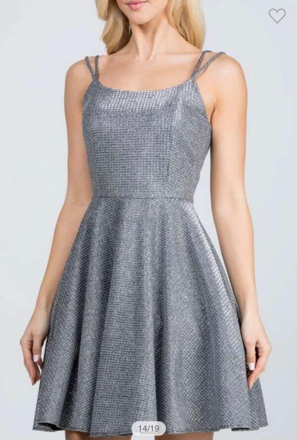 Shimmer Waffle Dress Dark Silver Front