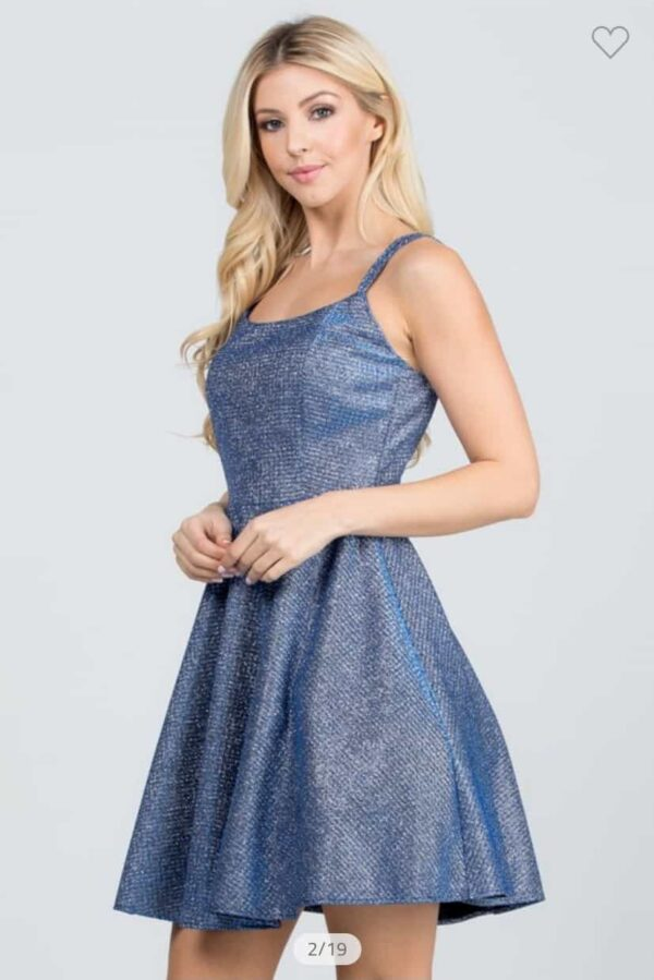 Shimmer Waffle Dress Royal Blue Front 2
