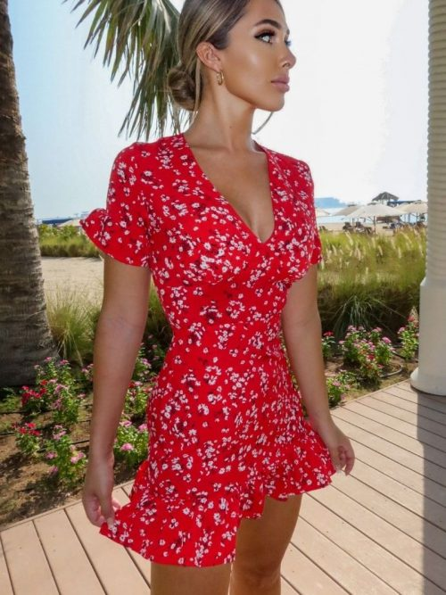 Red Floral SS