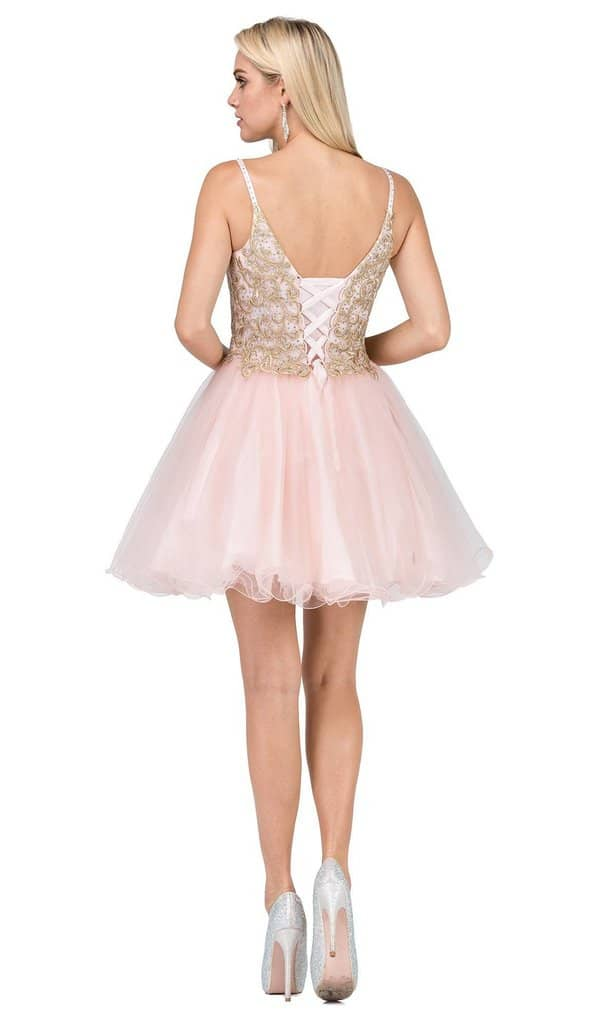 Back of Dancing Queen Dress Style 3021 in Blush