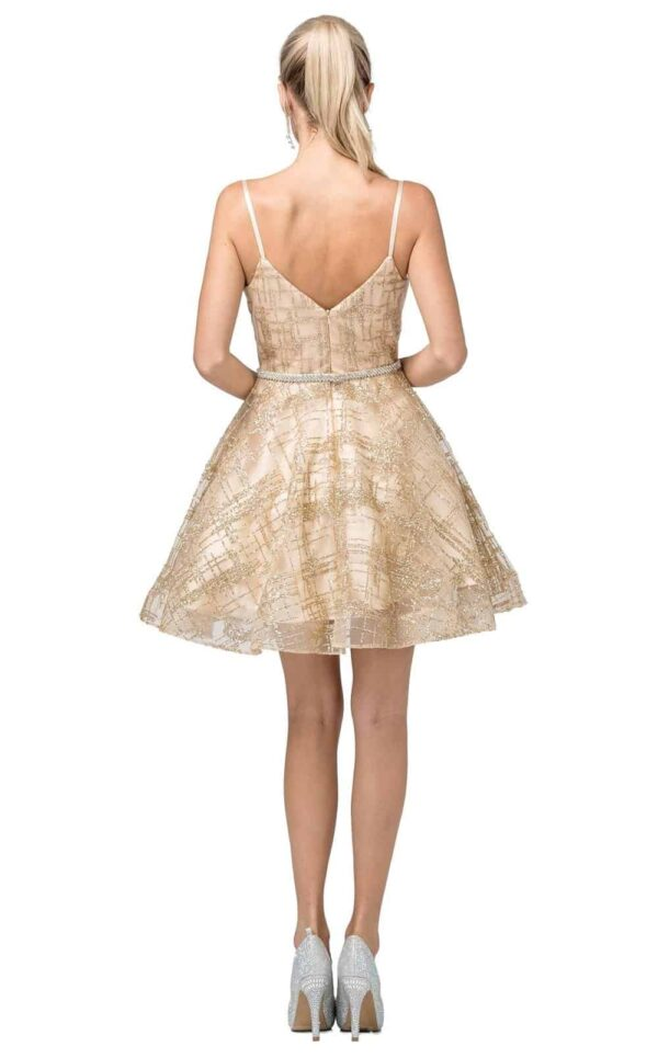 Back of Dancing Queen Dress Style 3185 in Gold