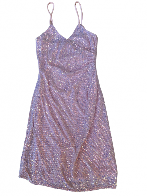 Pink Sequin ruched bodycon dress